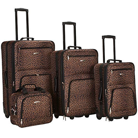 Rockland Luggage 4 Piece Luggage Set, Brown Leopard, Medium