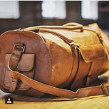 Vintage Crafts Leather 20 Inch Duffel Travel Gymovernight Weekend Leather Bag