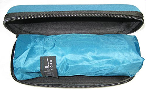 Nicole Miller 42 Inch Micro Mini Umbrella with Hard Eyeglass Carrying Case Teal