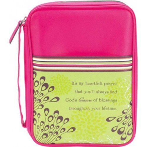 Mom Heartfelt Prayer Hot Pink Medium 9 x 6.5 inch Vinyl Bible Cover Case with Handle