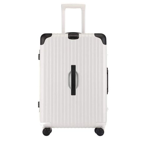 Suitcase, Aluminum Frame Trolley Case, Universal Wheel Luggage Code Suitcase High-Grade Aluminum Frame, White, 26 inch