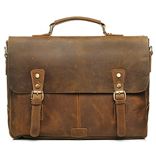 S-Zone Vintage Crazy Horse Leather Laptop Messenger Shoulder Bag Briefcase