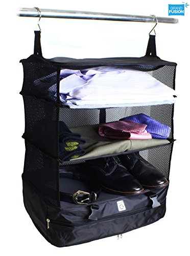 Stow-N-Go Portable Luggage System - Large - Black, Packable Hanging Travel Shelves And Packing Cube
