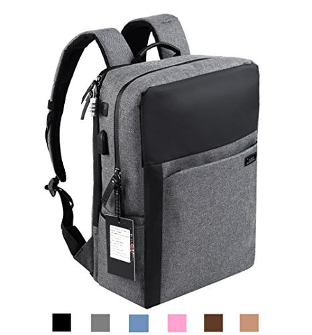 Yuanye Business Water Repellent Nylon Laptop Backpack With Usb Charging Port And Lock Fits 15.6