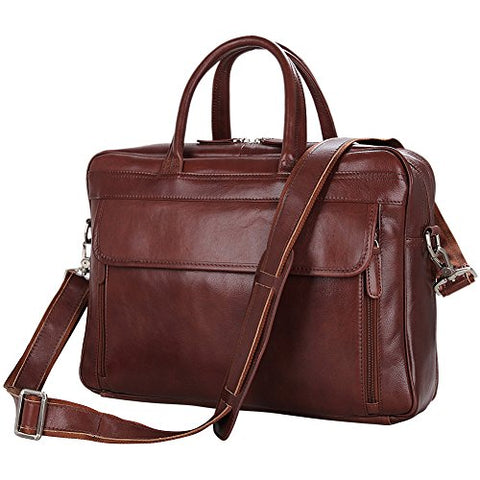 Men's Laptop Bag, Berchirly 15-inch Retro Leather Briefcase Lawyer Office Handbag Computer Shoulder