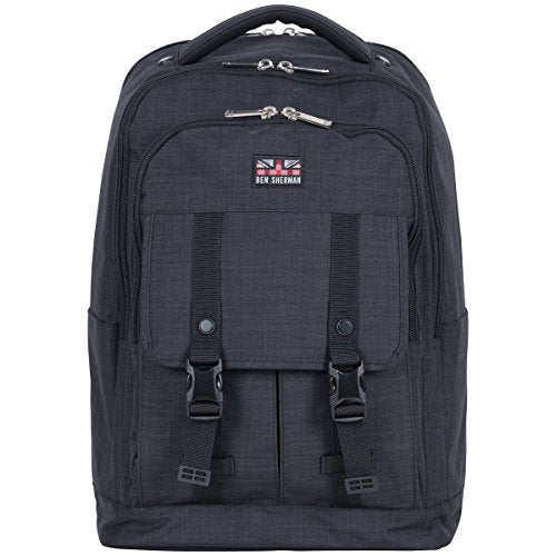 "Ben Sherman Heather Polyester Double Compartment 15.6"" Computer Travel Backpack, Navy, One Size"