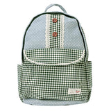 Damara Student's Dots Canvas Fabric Large School Bags,Green