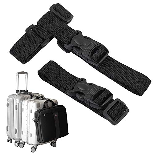 Luggage Straps,Two Add a Bag Suitcase Strap Belt,Adjustable Travel Attachment Accessories for Connect Your Three Luggage Together - 2 pack(Black)