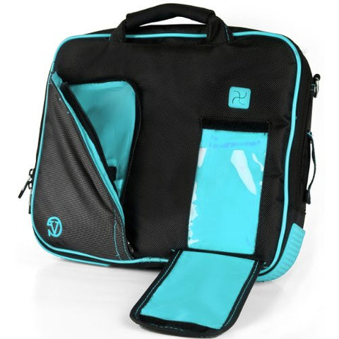 Vangoddy Pindar Sling – Black Aqua Blue Pro Deluxe Shoulder Messenger Carrying Bag For Lenovo