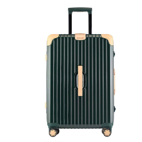 Suitcase, Aluminum Frame Trolley Case, Universal Wheel Luggage Code Suitcase High-Grade Aluminum Frame, Dark green, 24 inche