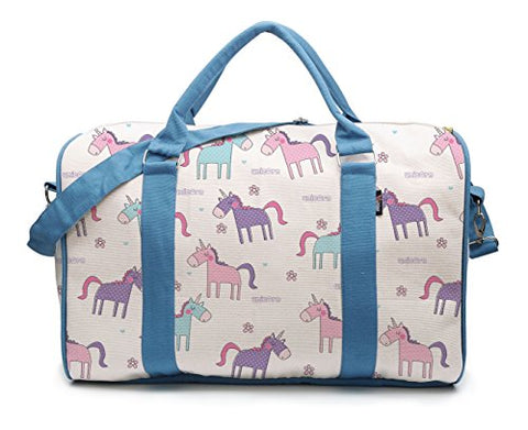 Seamless Cute Unicorn Pattern-2 Printed Canvas Duffle Luggage Travel Bag Was_42