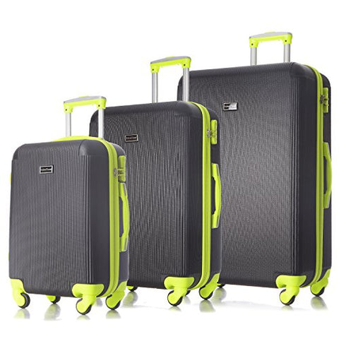 3 Pc Luggage Set Durable Lightweight Hard Case Pinner Suitecase-Lug3-Ly71Val-Black/Yell