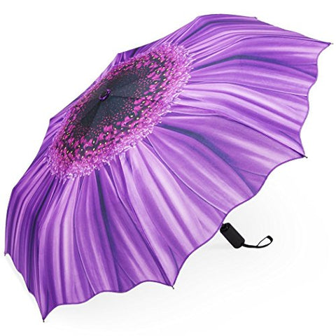 Plemo Automatic Umbrellas, Windproof Purple Daisy Design Compact Folding Umbrellas with Anti-Slip