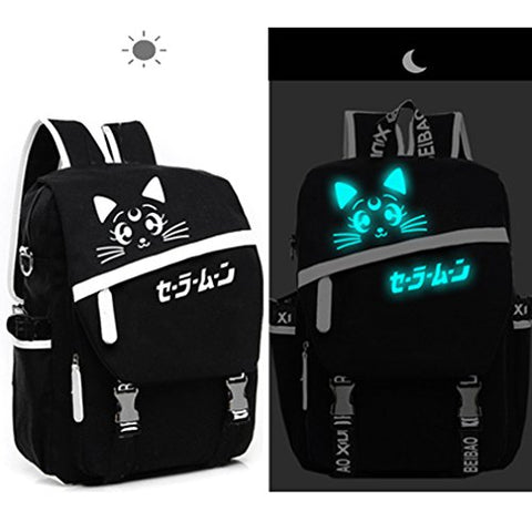 Lolita Style Moon Cat Luminous Backpack School Bag Laptop Bag