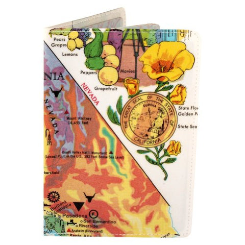 Map Of California Bountiful Treasures Travel Passport Holder [Apparel]