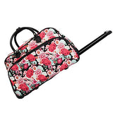 World Traveler Flowers 21-Inch Rolling Duffle Bag, Black Trim Flowers