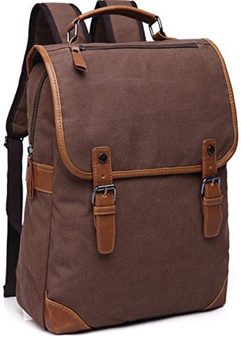 Aidonger Unisex Vintage Canvas Casual Backpack (Coffee)