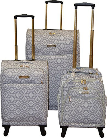 Jenni Chan Snow Flake Collection Lightweight 3-PC Spinner Luggage Set (Grey)