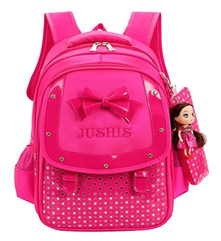Fanci Cute Bowknot Kids Backpack Sweet princess doll Waterproof Primary School Book bag with pencil