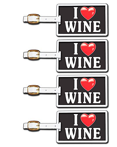 Tag Crazy I Heart Wine Four Pack, Black/White/Red, One Size
