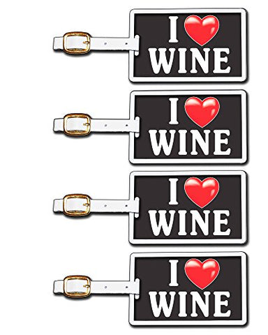 Tag Crazy I Heart Wine Two Pack, Black/White/Red, One Size