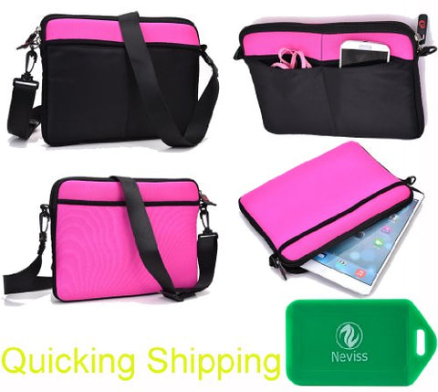 Universal Messenger/Sleeve Bag With Accessories Pocket And Shoulder Strap Fits- Acer C720P Chromebook (11.6-Inch Touchscreen, 2Gb) In Black/Magenta