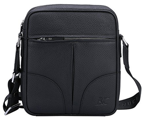 Banuce Small Black Cowhide Leather Messenger Bag for Men Shoulder Crossbody Purse for iPad