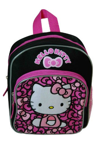 "Hello Kitty Lovely Bow 10"" Mini Black And Pink Backpack"