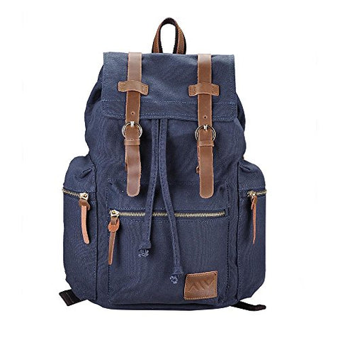 AW Vintage Canvas Backpack Rucksack Casual Schoolbag Outdoor Sport Travel Hiking Shoulder Bag