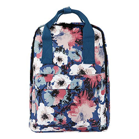 Violet Mist College Floral Backpack Bag Waterproof Laptop for Girls Adults (Blue Flower)
