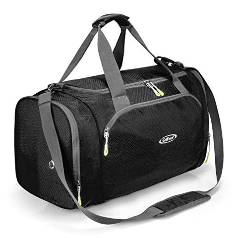 G4Free Gym Bag with Shoes Compartment Large 50L Sports Duffel Bag for Men and Women (Black)