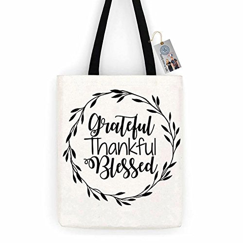 Grateful Thankful Blessed Thanksgiving Cotton Canvas Tote Bag Day Trip Bag Carry All