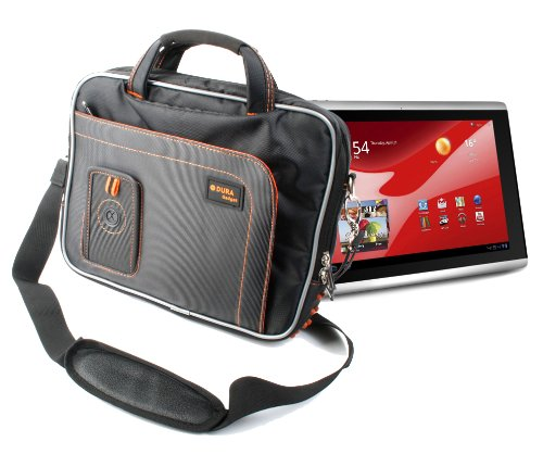 Tough Black Shoulder Strap Bag With Multiple Compartments For Packard Bell Liberty Tab