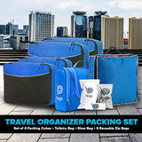 Travel Organizer Set for Luggage & Suitcase - Packing Cubes, Toiletry, Shoe Bags (Blue)
