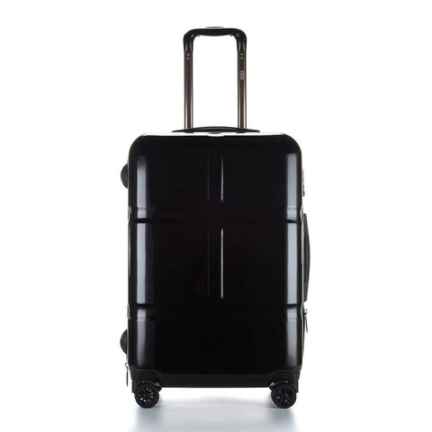 Suitcase, Lightweight, Large 28-Inch Hard-Shell Aluminum Alloy Suitcase, 4 Spinner Wheels, Abs Luggage Travel Trolley, Black, 24 inch