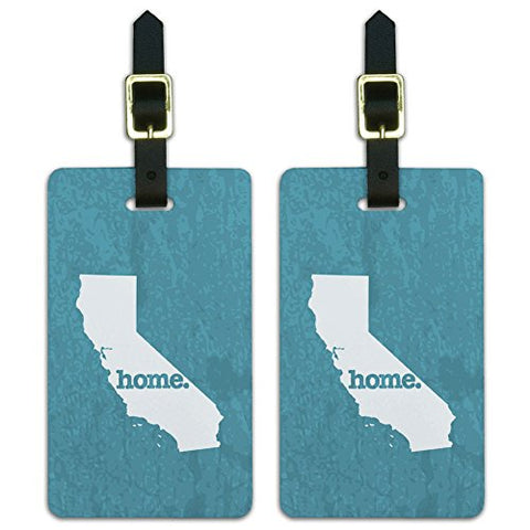 Graphics & More California Ca Home State Luggage Suitcase Id Tags-Textured Robin Egg Blue, White