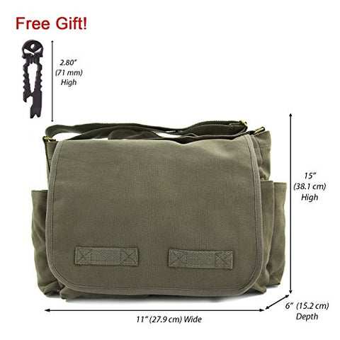 Army Force Gear Canvas Messenger Bag, Olive with Black FREE Punisher Tool