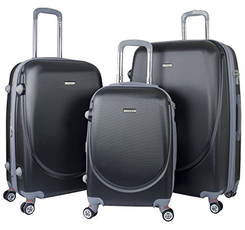 "TPRC 3 Piece Premium ""Barnet Collection 2.0"" Hardside Expandable Luggage Set with ADDED TSA Lock, Chrome Trolley, and Upgraded Double Spinner Wheel System, Black Color Option"