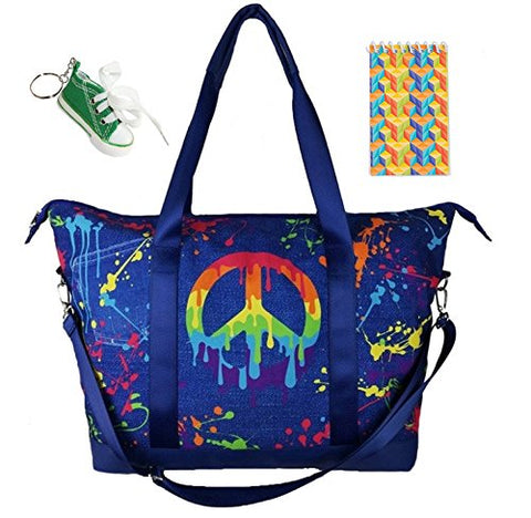Peace Denim Splatter Large Tote Bag, Keychain & Notepad Multi-Pack