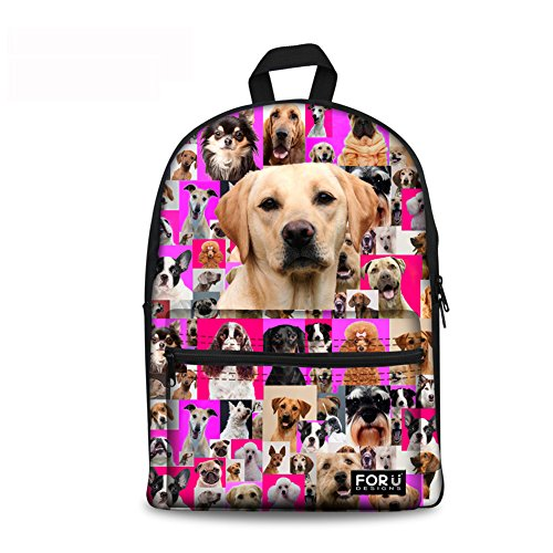 Thikin 15 Inch Durable Canvas Backpack Animal Pet Puppies Girls School Bags