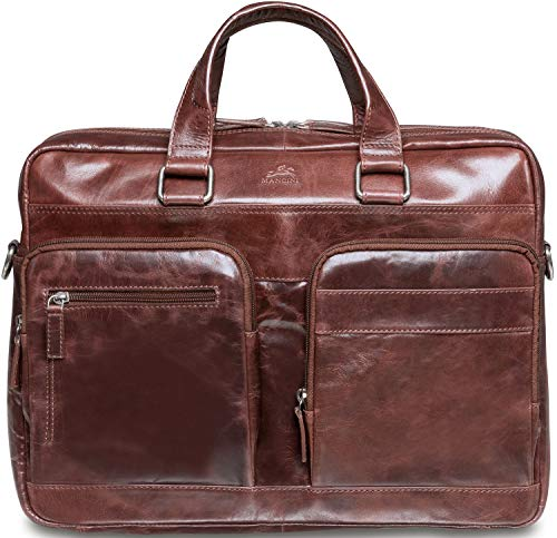 Mancini Leather Goods Bridge Double Compartment 15.6'' Laptop/Tablet Briefcase