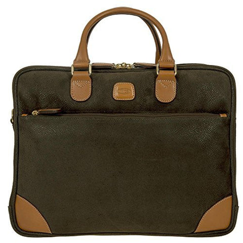 Bric's Life Business Tablet Small Laptop Briefcase, Olive