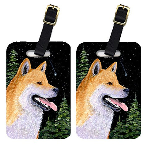 Caroline's Treasures SS8598BT Pair of 2 Shiba Inu Luggage Tags, Large, multicolor