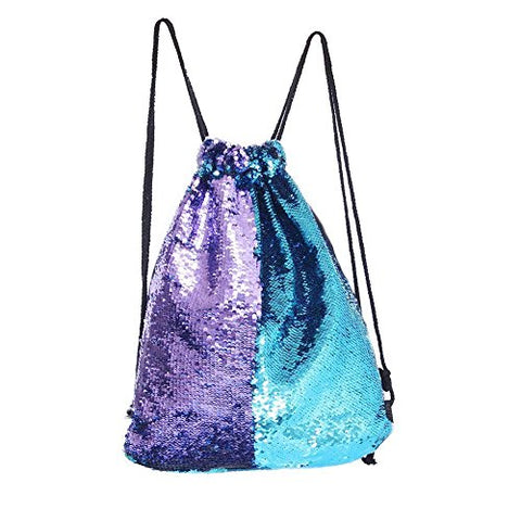 Mermaid Drawstring Bag Magic Reversible Sequin Backpack Glittering Dance Bag For Yoga Outdoors