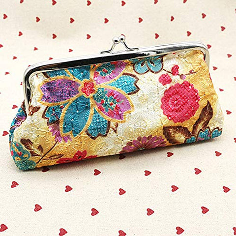 Vintage Lady Womens Floral Wallet Clutch Purse Long Handbag Coin Bag Card Holder (Color - Yellow)