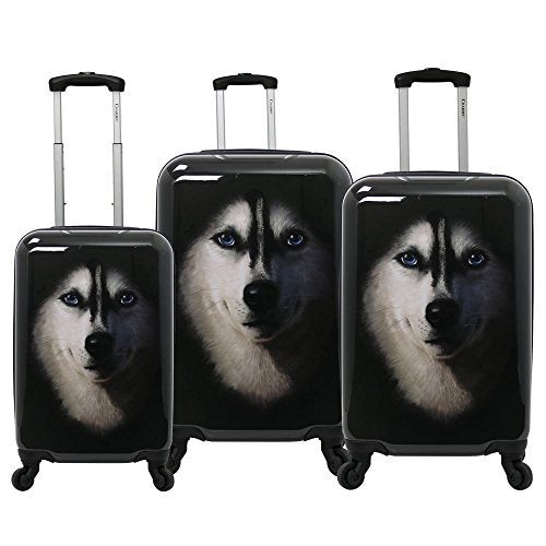 Chariot Dog 3-Piece Expandable Hardside Lightweight Spinner Luggage Set, Husky