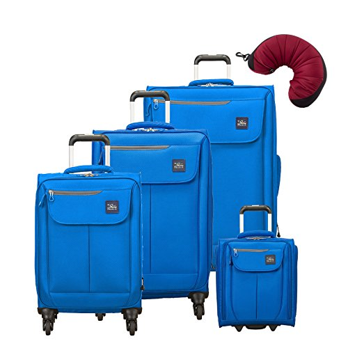 "Skyway Mirage 2.0 | 5-Piece Set | 16"" Underseater, 20"", 24"" and 28"" Expandable Spinners, Travel Pillow (Blue Royal)"