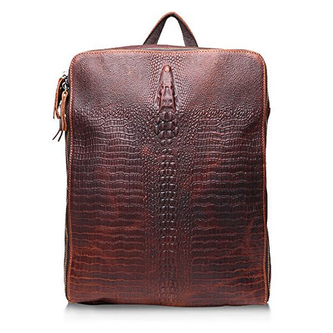 Sealinf Men'S Crocodile Pattern Cowhide Backpack Shoulder Bag (Dark Brown)