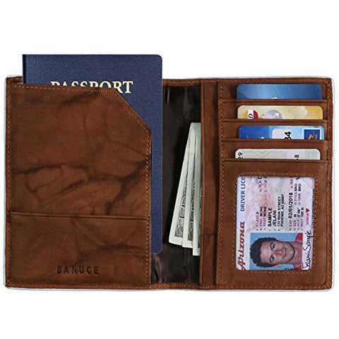 Banuce Real Leather Passport Holder for Men Travel Wallet Cover with Elastic Strap