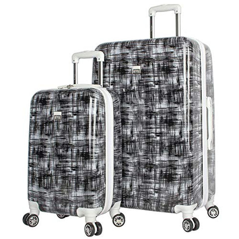 NICOLE MILLER STYLE LIZBETH COLLECTION 2-PC HARDSIDE LUGGAGE SET IN BLACK